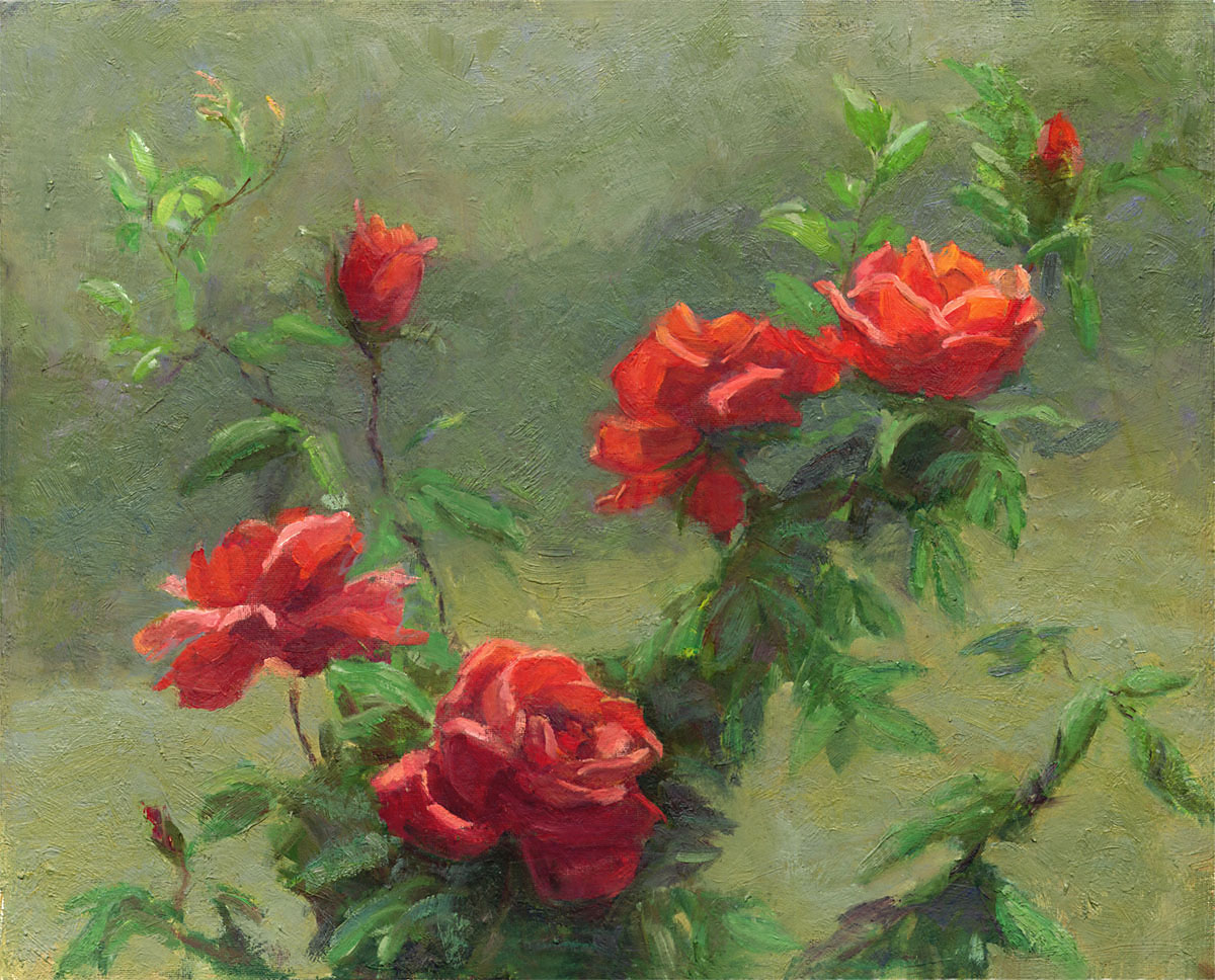 Red Roses in Soft Sunlight
