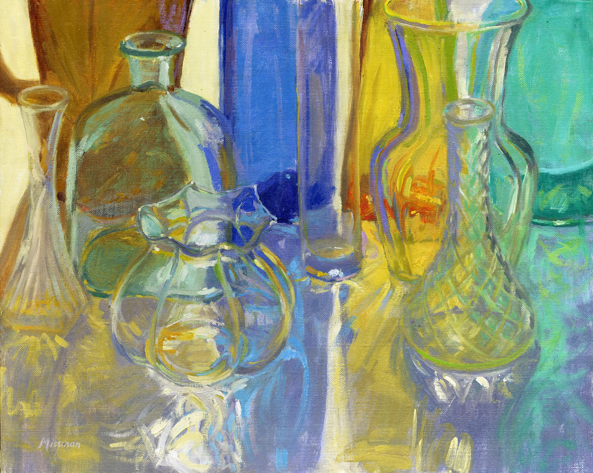 Colored Glass in Blue and Gold
