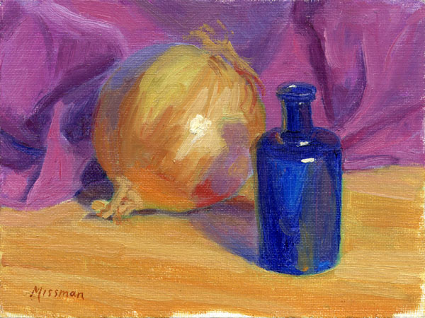 Still Life with Onion and Blue Bottle